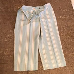 Light Blue and White stripped Capris